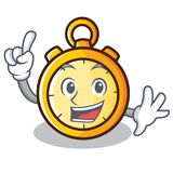Finger chronometer character cartoon style Royalty Free Stock Image