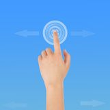 Finger click. The hands and touch screen Royalty Free Stock Photography