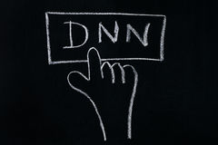 Finger click DNN. Symbol on Chalkboard.Business concept royalty free stock photos