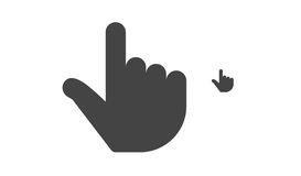 Finger click, hand click icon. Finger click, hand icon, black silhouette. Vector symbol isolated on white background Stock Images