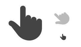 Finger click, hand click icon. Finger click, hand icon, black silhouette. Vector symbol isolated on white background. Isolated vector image. Vector finger click Stock Photography