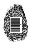 Finger code. Personal finger-mark and barecode isolated on the white background(made by me,from my finger Stock Photo