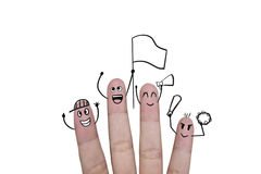 Finger concept cheer up team football with holds up flag. Finger concept cheer up team football with holds up flag Stock Photos