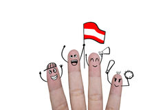 Finger concept cheer up team football with holds up flag Austria.  Stock Photo