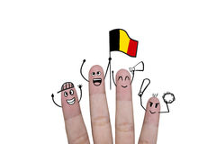 Finger concept cheer up team football with holds up flag Belgium.  Royalty Free Stock Photography