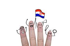 Finger concept cheer up team football with holds up flag Croatia.  Stock Image