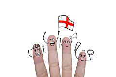 Finger concept cheer up team football with holds up flag England.  Stock Photography