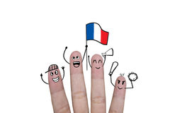 Finger concept cheer up team football with holds up flag France. Finger concept cheer up team football with holds up flag Royalty Free Stock Photo