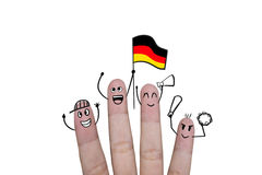 Finger concept cheer up team football with holds up flag Germany Stock Images