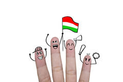 Finger concept cheer up team football with holds up flag Hungary.  Royalty Free Stock Photography