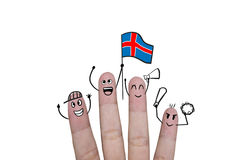 Finger concept cheer up team football with holds up flag Iceland. Finger concept cheer up team football with holds up flag Royalty Free Stock Image