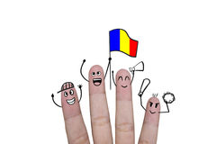 Finger concept cheer up team football with holds up flag Romania.  Royalty Free Stock Photography