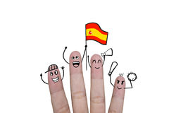 Finger concept cheer up team football with holds up flag Spain. Finger concept cheer up team football with holds up flag Spain royalty free stock images