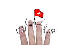 Finger concept cheer up team football with holds up flag Switzer. Land Stock Photography