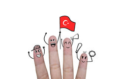 Finger concept cheer up team football with holds up flag Turkey. Finger concept cheer up team football with holds up flag Turkey Stock Photo