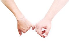 Finger connection. Two male hands and two fingers connected Royalty Free Stock Photos