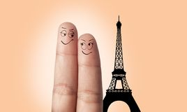 A finger couple dream to travel Royalty Free Stock Image