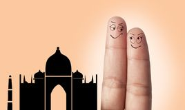 A finger couple dream to travel Stock Images