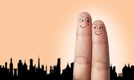 A finger couple dream to travel Stock Photo