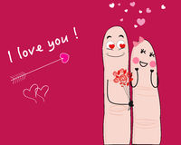 Finger couple i love you card. Vector background Stock Image