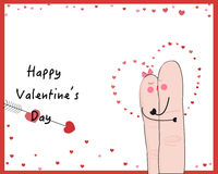 Finger couple kissing valentine day vector card.  Stock Images