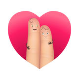 Finger couple in red heart. Couple in red heart. Pair of realistic happy fingers smiley in love. Effective romantic emotional image. Flat style vector Stock Photography