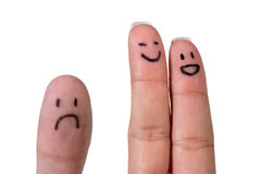 Finger couple smiling Royalty Free Stock Photography