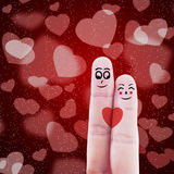 Finger couple valentine design. Finger gesturing like a couple on red heart shape background Stock Photography