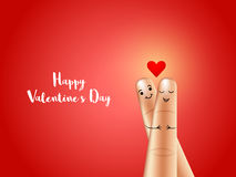 Finger Couple for Valentine`s Day celebration. Happy finger couple on shiny background, Elegant greeting card design for Valentine`s Day Celebration Stock Photos
