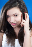 Finger cross or good luck by young beautiful woman Stock Image