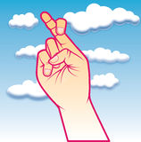 Finger crossed. An illustration of crossed fingers symbolizing good luck in a sky clouded background Stock Photos