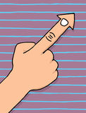 Finger cursor pointing arrow. Cartoon Finger as cursor pointing arrow Stock Photos