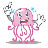 Finger cute jellyfish character cartoon. Vector illustration Royalty Free Stock Image