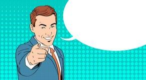 Finger del punto del hombre de negocios en usted estallido Art Colorful Retro Style de la burbuja de la charla Fotografía de archivo libre de regalías
