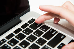 Finger and delete keyboard Royalty Free Stock Images