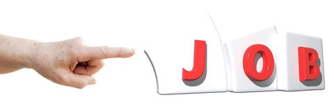 Finger, der auf JOB zeigt Stockfotos