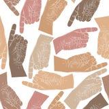 Finger, der Hände nahtloses Muster, Vektorhintergrund zeigt Lizenzfreies Stockfoto