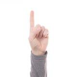 Finger des Handzählungs-Zeichens eins lokalisiert lizenzfreie stockfotos