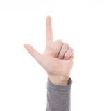 Finger des Handzählungs-Zeichens zwei lokalisiert lizenzfreie stockfotografie