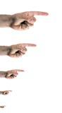 Finger, die nach rechts zeigen Stockbilder