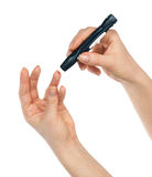 Finger disponible del pinchazo de la lanceta de la diabetes para hacer punturas Imagen de archivo