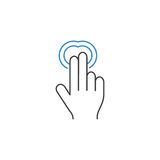 2 Finger Double tap line icon, hand gestures. 2 Finger Double tap line icon, touch and hand gestures, vector graphics, a color linear pattern on a white royalty free illustration