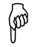 Finger down symbol. Closeup of finger pointing down symbol on white background royalty free illustration