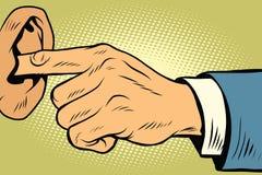 Finger in the ear, not hear. Comic book vintage pop art retro style illustration vector Stock Photo