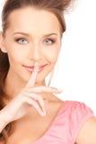 Finger en los labios Fotografía de archivo libre de regalías