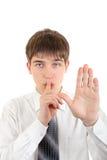 Finger en los labios en gesto del silencio Imágenes de archivo libres de regalías