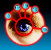 Finger and Eye Scan. Fingers being scanned for their fingerprints and eye scan. Security concept image Royalty Free Stock Photo