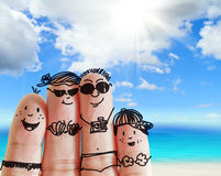 Finger family. Travels at the beach as concept Stock Images