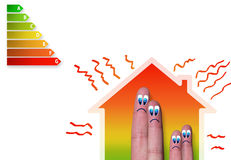 House with a bad energy classification. Finger family house with bad energy classification and heat loss Stock Photo