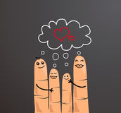 Finger family hugging showing love. Business concept. Fingers representing a loving family Royalty Free Stock Photos